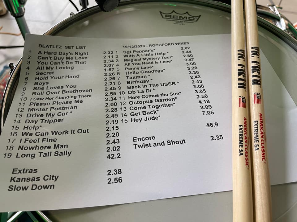 Beatlez set list