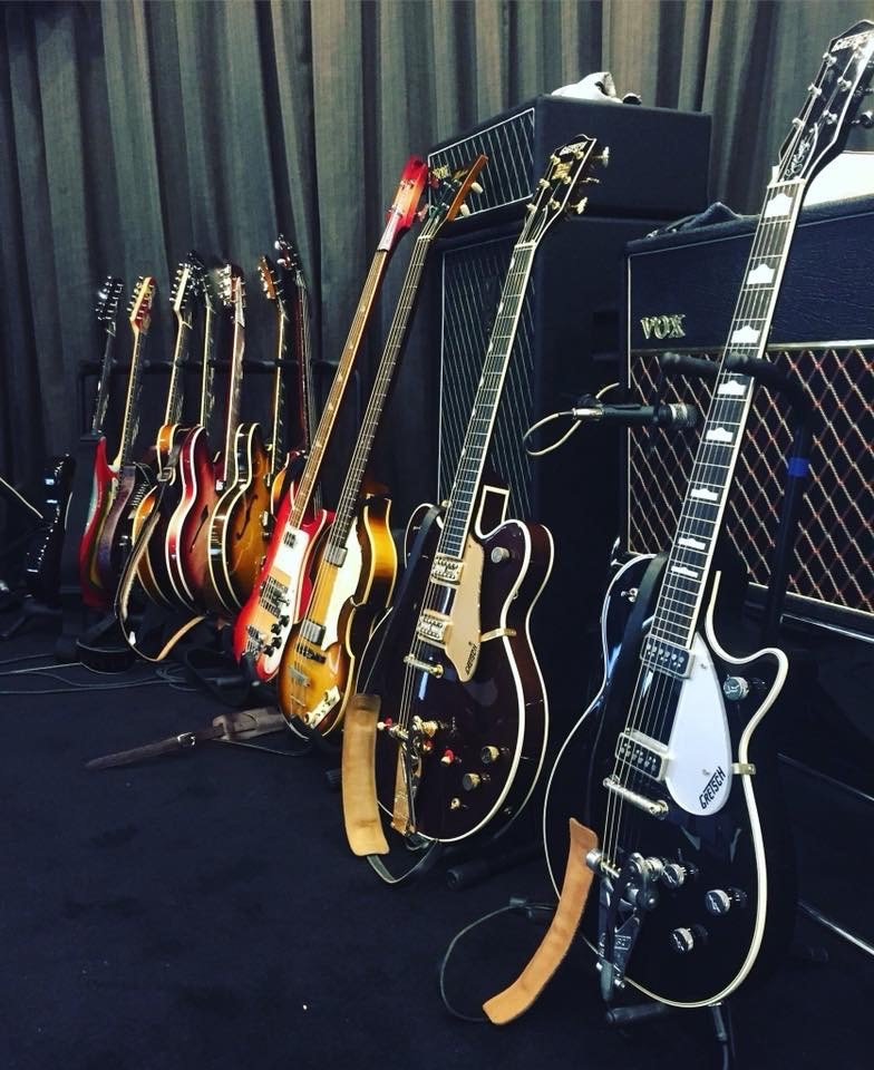 Some of the many guitars belonging to our John, Paul and George