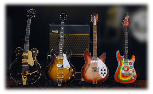 A few of our George's guitars and vox amplifier