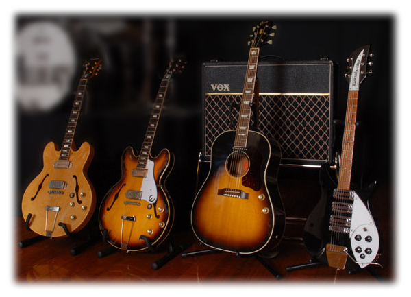 Our John's guitars and Vox amplifier